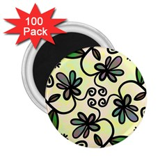 Completely Seamless Tileable Doodle Flower Art 2 25  Magnets (100 Pack)  by Nexatart