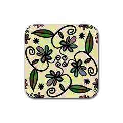 Completely Seamless Tileable Doodle Flower Art Rubber Coaster (square)