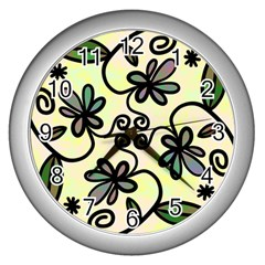 Completely Seamless Tileable Doodle Flower Art Wall Clocks (silver)