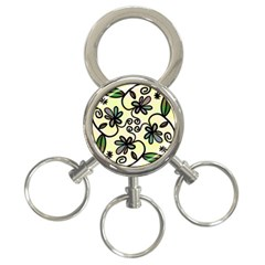 Completely Seamless Tileable Doodle Flower Art 3 Ring Key Chains