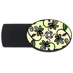 Completely Seamless Tileable Doodle Flower Art USB Flash Drive Oval (4 GB)