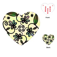 Completely Seamless Tileable Doodle Flower Art Playing Cards (heart)  by Nexatart