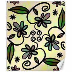 Completely Seamless Tileable Doodle Flower Art Canvas 8  X 10  by Nexatart