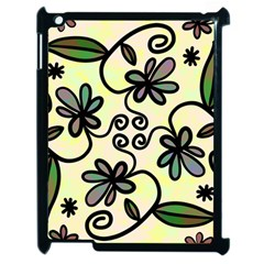 Completely Seamless Tileable Doodle Flower Art Apple Ipad 2 Case (black)