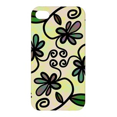 Completely Seamless Tileable Doodle Flower Art Apple Iphone 4/4s Hardshell Case by Nexatart