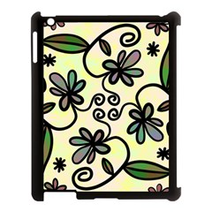 Completely Seamless Tileable Doodle Flower Art Apple Ipad 3/4 Case (black) by Nexatart