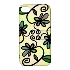 Completely Seamless Tileable Doodle Flower Art Apple Iphone 4/4s Hardshell Case With Stand by Nexatart