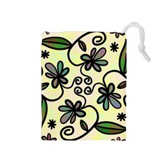 Completely Seamless Tileable Doodle Flower Art Drawstring Pouches (medium)  by Nexatart