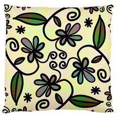 Completely Seamless Tileable Doodle Flower Art Large Flano Cushion Case (two Sides) by Nexatart