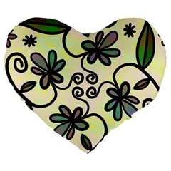 Completely Seamless Tileable Doodle Flower Art Large 19  Premium Flano Heart Shape Cushions