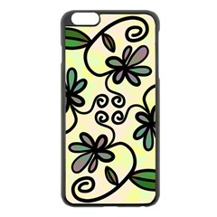 Completely Seamless Tileable Doodle Flower Art Apple Iphone 6 Plus/6s Plus Black Enamel Case