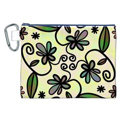 Completely Seamless Tileable Doodle Flower Art Canvas Cosmetic Bag (xxl) by Nexatart