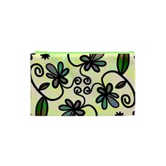 Completely Seamless Tileable Doodle Flower Art Cosmetic Bag (xs) by Nexatart