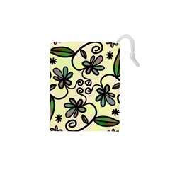 Completely Seamless Tileable Doodle Flower Art Drawstring Pouches (xs)  by Nexatart