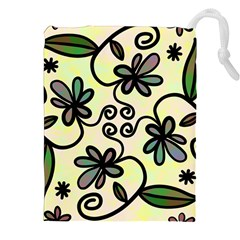 Completely Seamless Tileable Doodle Flower Art Drawstring Pouches (xxl) by Nexatart