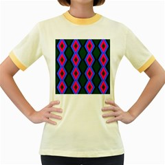 Quadrate Repetition Abstract Pattern Women s Fitted Ringer T Shirts