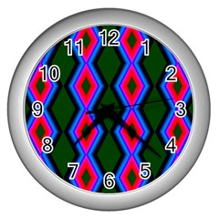 Quadrate Repetition Abstract Pattern Wall Clocks (silver)
