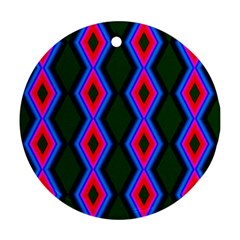 Quadrate Repetition Abstract Pattern Round Ornament (two Sides)