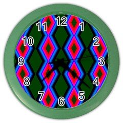 Quadrate Repetition Abstract Pattern Color Wall Clocks by Nexatart