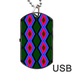 Quadrate Repetition Abstract Pattern Dog Tag Usb Flash (one Side) by Nexatart