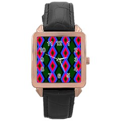Quadrate Repetition Abstract Pattern Rose Gold Leather Watch