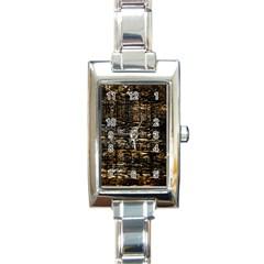 Wood Texture Dark Background Pattern Rectangle Italian Charm Watch by Nexatart