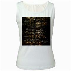 Wood Texture Dark Background Pattern Women s White Tank Top