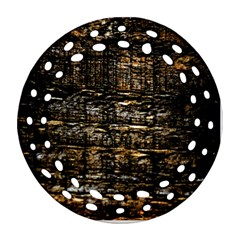 Wood Texture Dark Background Pattern Round Filigree Ornament (two Sides)