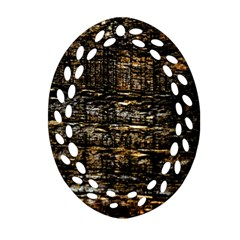Wood Texture Dark Background Pattern Oval Filigree Ornament (two Sides)