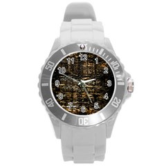 Wood Texture Dark Background Pattern Round Plastic Sport Watch (l)