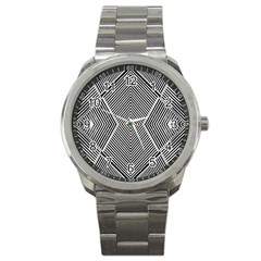 Black And White Line Abstract Sport Metal Watch by Nexatart