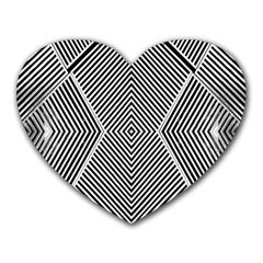 Black And White Line Abstract Heart Mousepads by Nexatart