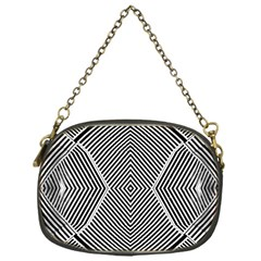 Black And White Line Abstract Chain Purses (one Side)  by Nexatart