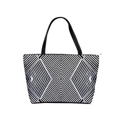 Black And White Line Abstract Shoulder Handbags by Nexatart