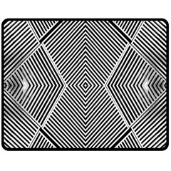 Black And White Line Abstract Fleece Blanket (medium)  by Nexatart