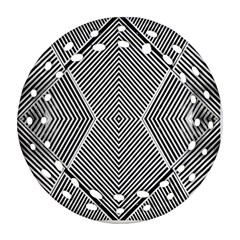 Black And White Line Abstract Round Filigree Ornament (two Sides) by Nexatart