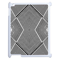 Black And White Line Abstract Apple Ipad 2 Case (white) by Nexatart