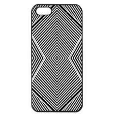 Black And White Line Abstract Apple Iphone 5 Seamless Case (black)