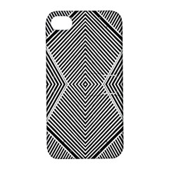 Black And White Line Abstract Apple Iphone 4/4s Hardshell Case With Stand by Nexatart