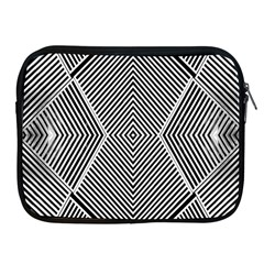 Black And White Line Abstract Apple Ipad 2/3/4 Zipper Cases