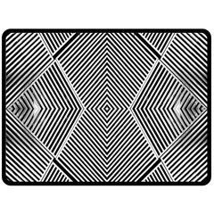 Black And White Line Abstract Double Sided Fleece Blanket (large)  by Nexatart