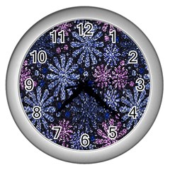 Pixel Pattern Colorful And Glittering Pixelated Wall Clocks (silver)  by Nexatart