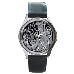 Abstract Swirling Pattern Background Wallpaper Round Metal Watch