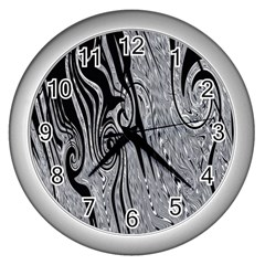 Abstract Swirling Pattern Background Wallpaper Wall Clocks (silver)