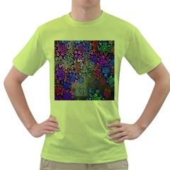 Grunge Rose Background Pattern Green T Shirt