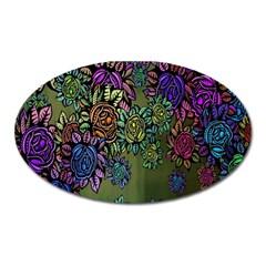 Grunge Rose Background Pattern Oval Magnet by Nexatart