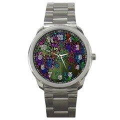 Grunge Rose Background Pattern Sport Metal Watch