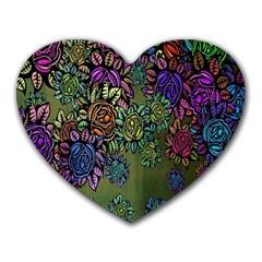 Grunge Rose Background Pattern Heart Mousepads