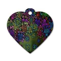 Grunge Rose Background Pattern Dog Tag Heart (one Side) by Nexatart