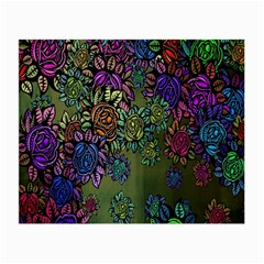Grunge Rose Background Pattern Small Glasses Cloth (2 Side) by Nexatart